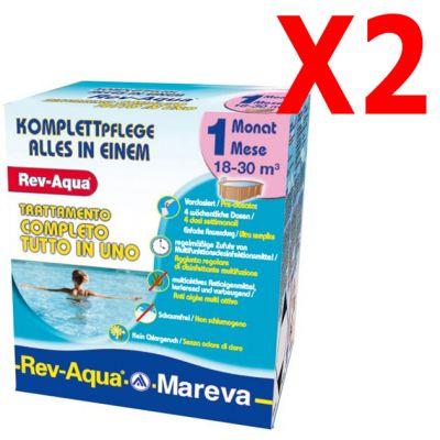 REV-AQUA 18-30 M³ - Trattamento completo di 2 mesi per piscine con volumi da 18000 a 30000 Litri