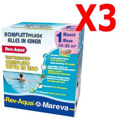 REV-AQUA 18-30 M³ - Trattamento completo di 3 mesi per piscine con volumi da 18000 a 30000 Litri