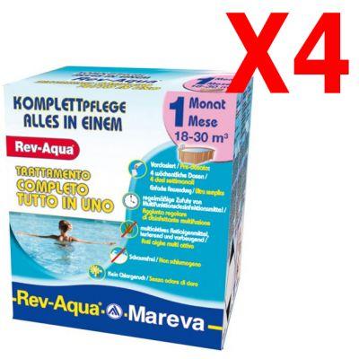 REV-AQUA 18-30 M³ - Trattamento completo di 4 mesi per piscine con volumi da 18000 a 30000 Litri