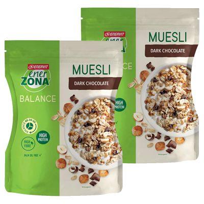 2x Enerzona Muesli 40-30-30 - Sacchetti da 230g di Muesli ricchi di proteine, quantità per 20 colazioni