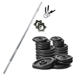 PROMO PACK - Bilanciere in acciaio cromato 180 cm con fermadischi inclusi + Pacco pesi di dischi in ghisa da 102 kg