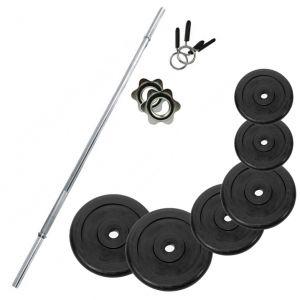 PROMO PACK - Bilanciere in acciaio cromato 180 cm con fermadischi inclusi + Pacco pesi di dischi in ghisa da 132 kg