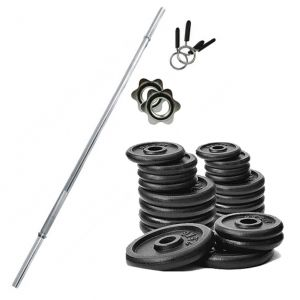 PROMO PACK - Bilanciere in acciaio cromato 180 cm con fermadischi inclusi + Pacco pesi di dischi in ghisa da 52 kg
