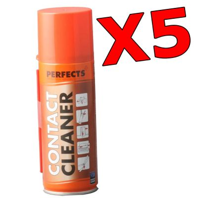 Kit Risparmio con 5 Bombolette Spray da 200 ml di Contact Cleaner Perfects - Lubrificante Oleoso Pulisci Contatti
