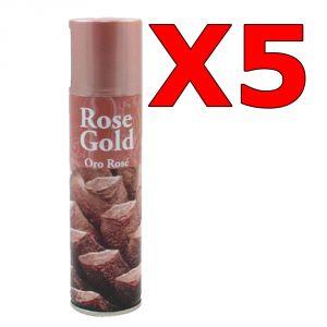 5x ROSE GOLD SPRAY 150 ML - Bomboletta Spray Rosa Dorato per Decorazioni Natalizie Bricolage Pigne Fiori Carta