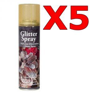 Kit Risparmio con 5 Bombolette di Oro Spray Glitterato da 100 ml - Per decorazioni natalizie, floreali e bricolage