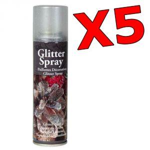 KIT RISPARMIO con 5 Spray Glitter Multicolor da 100 ml - Bombolette per decorare fiori, pigne, accessori natalizi