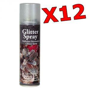 KIT MAXI RISPARMIO con 12 Spray Decorativi Glitter Multicolor da 100 ml - Per decorazioni natalizie, bricolage, fiori