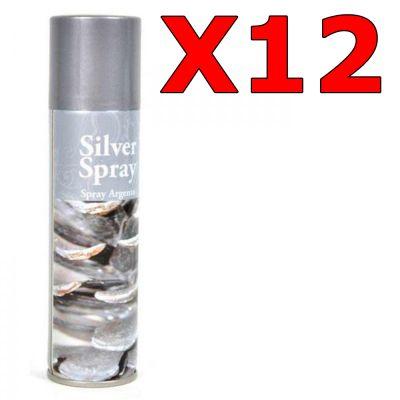 12 bombolette di SILVER SPRAY SOLCHIM da 150 ml - Ideale per decorare fiori, accessori di natale, pigne, ecc