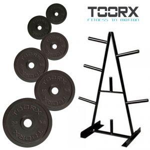 """Kit pesistica """"Extra-Heavy"""" con 110 kg di ghisa nera foro Ø25-26 mm e Rastrelliera porta dischi"""
