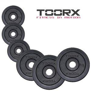 PACCO PESI ULTRA 500 KG Set di dischi in ghisa gommata con foro 25 mm Toorx